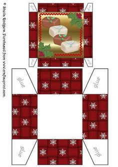 """A useful size gift box (approx. 3"""" x 3"""" x 1.75"""") for small Christmas gifts of chocolates.  Ideal for if you are selling chocolates at a craft fair and want to add a more expensive look. These boxes look superb when printed onto glossy card."""