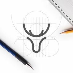 Deer logo design construction designed by Lisa J. @lisajacobsdesign Hashtag #logolearn to show your work!