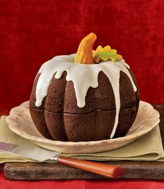 With its vanilla-sugar icing and marzipan stem, this pumpkin-shaped cake is sure to earn Best in Show this Halloween.