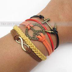 Infinity Bracelet Peace Bracelet Anchor Bracelet Antique by TYdiy, $7.99