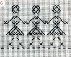 #2 Vintage Pattern Cross Stitch for Gingham Checks. A 1960s hand Embroidery Pattern.