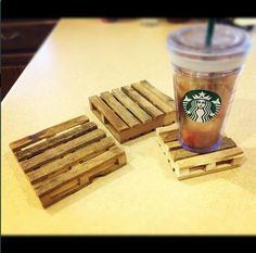 LOVE these mini DIY pallet coasters made out of craft sticks aka popsicle…