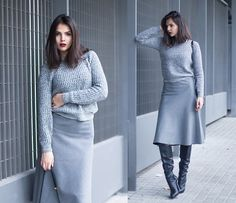 Get this look: http://lb.nu/look/5780785  More looks by Doina Ciobanu: http://lb.nu/doinaciobanu  Items in this look:  Knitted Sweater, Grey Skirt, Over The Knee Boots