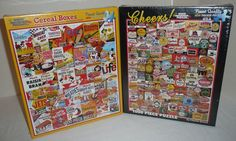 NEW SEALED - Lot of 2 1000 Piece Jigsaw Puzzles - Cereal Boxes Cheers Beer Logos #WhiteMountainPuzzles
