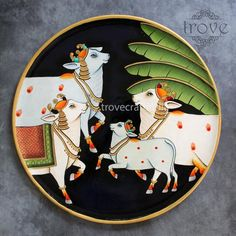 Clock Painting, China Painting, Pottery Painting, Pichwai Paintings, Indian Art Paintings, Madhubani Painting, Durga Painting, Saree Painting Designs, Indian Arts And Crafts