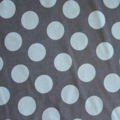 Sage Polka Dots on Grey Cotton Lycra Knit Fabric