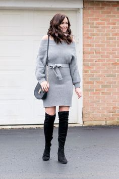 5feeaa814ec An Affordable Off-the-Shoulder Sweater Dress