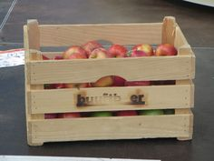 wooden crate with appples