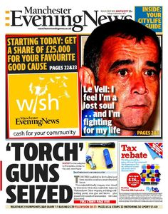 Front page of the Manchester Evening News, south edition, September 6 2013