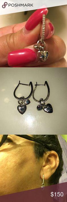 Sterling silver earrings 925 Sterling silver blue diamond and white diamond ear rings absolutely beautiful very dainty Jewelry Earrings