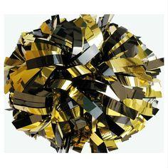 Metallic Gold and Black Cheerleading Pom Poms