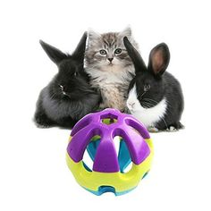 "Colorful Plastic Pet Toy Ball with Bell, Dog Cat Rabbit Bauble, 2.93""x2.93""x2.93"" >>> For more information, visit"