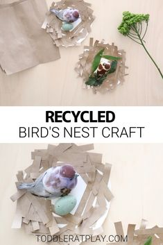 This Recycled Bird's Nest Craft is a great way to use up a regular, good old paper bag in a new and unique way.  #recycledcrafts #birdsnestcraft #toddlercrafts #craftsforkids