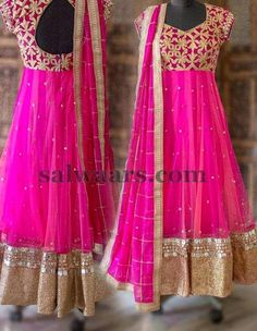 Pink Mirror Work Salwar - Indian Dresses
