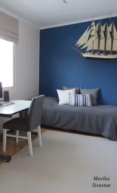 Sininen, beige, makuuhuone, vierashuone, pojan huone