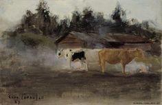 Eero Järnefelt (1863-1937) Lehmisavu, harjoitelma / Cows in Turf Smoke, study 1887 - Finland