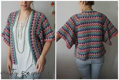 I've named this cardigan the 'Rabbithole Cardigan'. Why, you ask? The past few weeks the whole online knitting community has fallen down the so-called 'crochet rabbithole', everyone started crocheting a granny stripe blanket! I was inspired too, but instead of a blanket I crocheted this cardigan.
