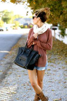 Casual Fall Fit - oversized cardigan, shorts, boots, bun, handbag.