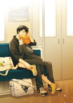 How in the world does Hinata feel comfortable in that position?!  The power of Kageyama's warmth, definitely * Ò^Ó *