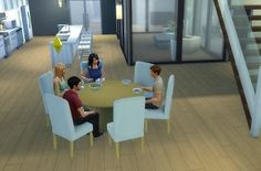 Mod The Sims - Modern 6-Seater Dining Table and Chair Set - TS4