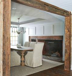 Colonial Renovation Dining Room, Original Beams, Westport,CT Calla McNamara Interiors