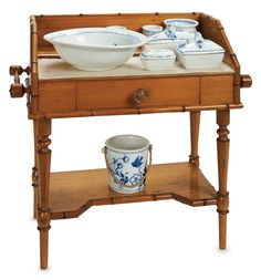 Theriault's Antique Doll Auctions - French Maple Wood Toilette Table with Porcelain Accessories