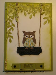 Stampin Up! Owl Punch - owl on a tree swing - cute idea!