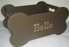 Wooden Dog Toy Box Bone Shape and Handles by woodzcreations, $99.00