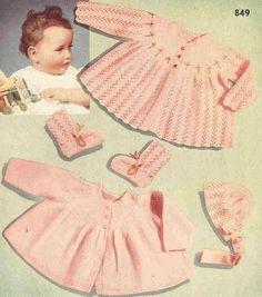 Lacy set baby matinee coat set vintage knitting by Ellisadine