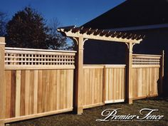 There are many different fence designs, styles and products available Lattice Privacy Fence, Fence With Lattice Top, Privacy Fence Landscaping, Backyard Privacy, Privacy Fences, Diy Fence, Fencing, Fence Ideas, Arbor Ideas