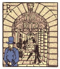 """""""R - The Ritz"""" from """"London A-Z"""" Complete Boxed Set linocuts by Tobias Till, 2012. http://www.tobias-till.co.uk/. Tags: Linocut, Cut, Print, Linoleum, Lino, Carving, Block, Woodcut, Helen Elstone, Buildings, Architecture, Archway, People."""