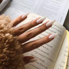 May 2020 - milky nails nail inspiration white nails milky white acrylics How To Do Nails, Fun Nails, Pretty Nails, Glitter Nails, Gold Nails, Peach Nails, Oval Nails, Halloween Nail Designs, Halloween Nails