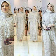 Grey is anything but drab when it is on the lovely Sarah Sofyan. please refer all inquiries to the contact info stated on our bio.we rarely reply comment inquiries.thank you for your kind interest Kebaya Lace, Kebaya Brokat, Dress Pesta, Cape Dress, Bridesmaid Dresses, Wedding Dresses, Muslim Women, Hijab Fashion, Wedding Day