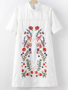 White Mock Neck Short Sleeve Keyhole Back Embroidery Dress
