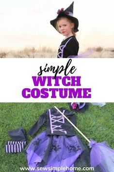 Make a homemade witch costume with this easy to follow step by step tutorial.  Whether you sew a lot or just a little, this is a great beginner sewing project. New Halloween Costumes, Halloween Sewing, Fall Sewing, Diy Costumes, Halloween Crafts, Costume Ideas, Dress Up Outfits, Diy Dress, Homemade Witch Costume