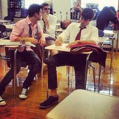 Carlos-goofing off in the back  Kendall-staring off into space  Logan-WTF Carlos?  James-working on his homework! <3