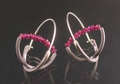 """Double Arc Hoop"" Silver & grape garnet Earrings -  by Theresa Carson"