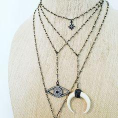 Gun metal necklaces // ALVjewels.com