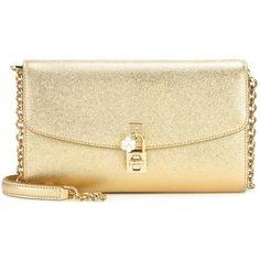 Dolce & Gabbana Dolce Pochette Metallic Leather Shoulder Bag (4.635 BRL) ❤ liked on Polyvore featuring bags, handbags, shoulder bags, bolsa, clutches, gold, beige purse, leather handbags, dolce gabbana purses and gold metallic handbags