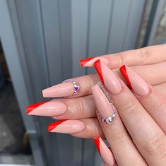 red nails acrylic coffin & red nails - red nails acrylic - red nails design - red nails glitter - red nails coffin - red nails short - red nails acrylic coffin - red nails with rhinestones Big Nails, Red Tip Nails, Red Acrylic Nails, Glam Nails, Nude Nails, Coffin Nails, Cute Red Nails, White Tip Nails, Pink Nail