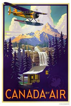 Canada by Air, vintage travel poster