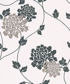 Isodore White (3372027) - Laura Ashley Wallpapers - A striking floral design of contemporary, large-scale blossoms in black and metallic silver on a white background. Additional colourways also available. Please request a sample for true colour match.
