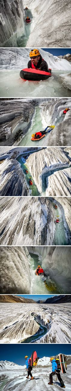 These Guys Turned A Glacier Into A Water Slide
