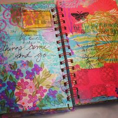 We're smitten over talented guest artist Autumn Hathaway's vibrant journal pages. Find more of her musings in the best issue of Art Journaling. #artjournaling #artsy #color #mixedmedia #art