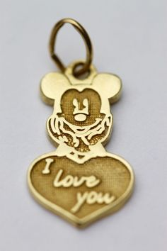 "Vintage 14k Yellow Gold Disney Mickey Mouse Charm ""I Love You"" .08 Grams #Disney"