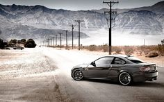 E92, BMW M3, road, tuning, black m3, desert, BMW