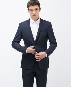Image 2 of BLUE TEXTURED WEAVE SUIT from Zara