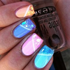 10 pcs False Nails - Pastel Iridescent Glitter Nails on Etsy, $9.97