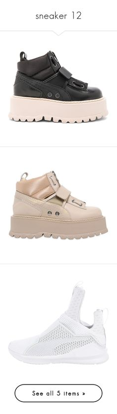 """""""sneaker 12"""" by hosana-317 ❤ liked on Polyvore featuring shoes, boots, monk-strap shoes, real leather shoes, platform shoes, rubber sole shoes, velcro shoes, sneakers, pink and puma shoes"""