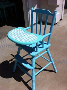 Sold Vintage hand painted high chair by PopOfColorDesignz on Etsy